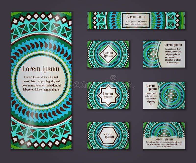 Negocio del vintage del vector y sistema de tarjeta de la invitación Mandala floral libre illustration