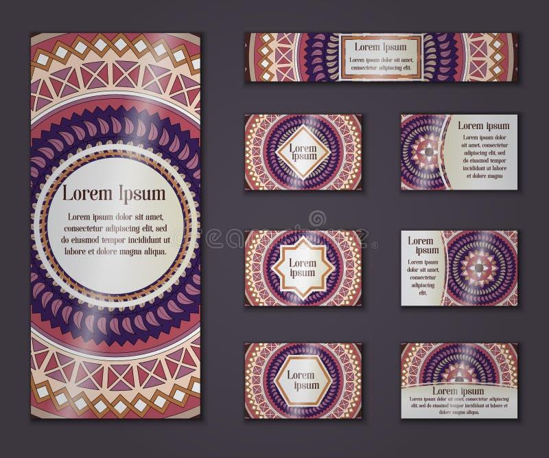 Negocio del vintage del vector y sistema de tarjeta de la invitación Mandala floral ilustración del vector