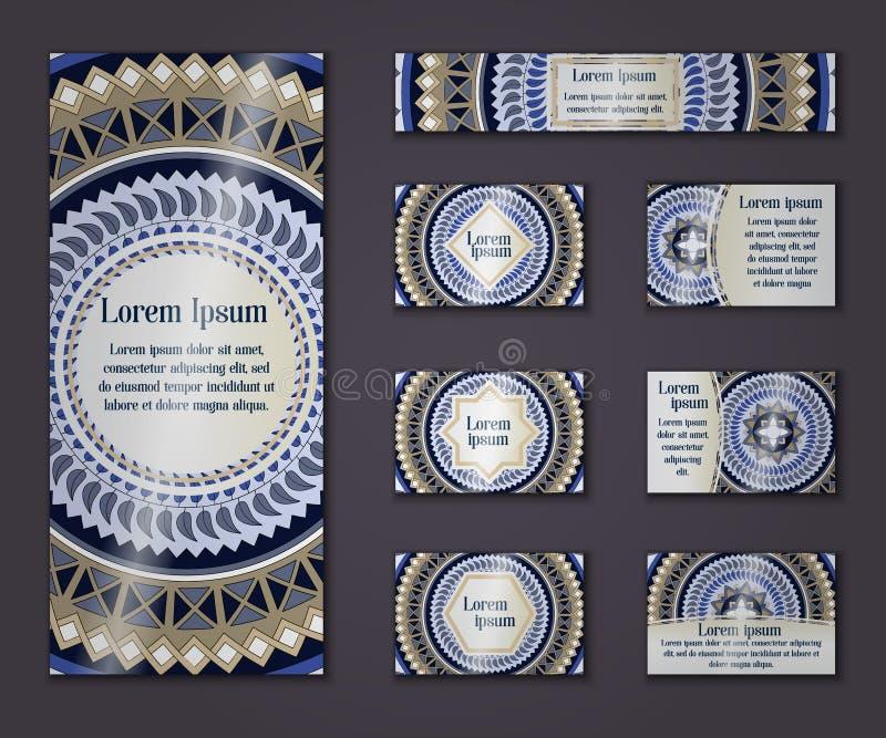 Negocio del vintage del vector y sistema de tarjeta de la invitación Mandala floral stock de ilustración