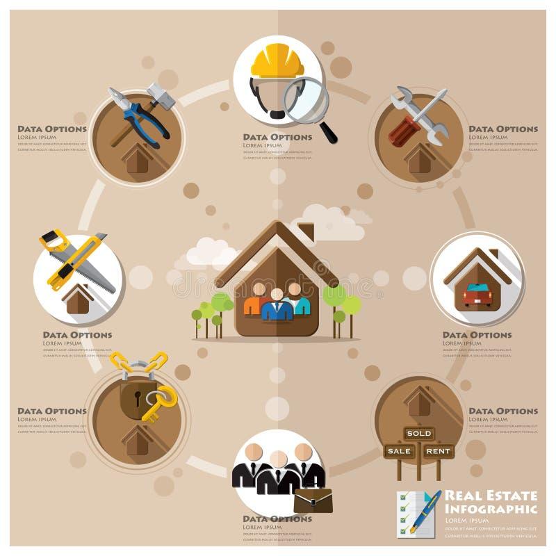 Negocio e icono plano Infographic de Real Estate ilustración del vector
