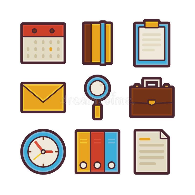 Negocio e iconos planos modernos de los artículos de la vida de la oficina fijados ilustración del vector