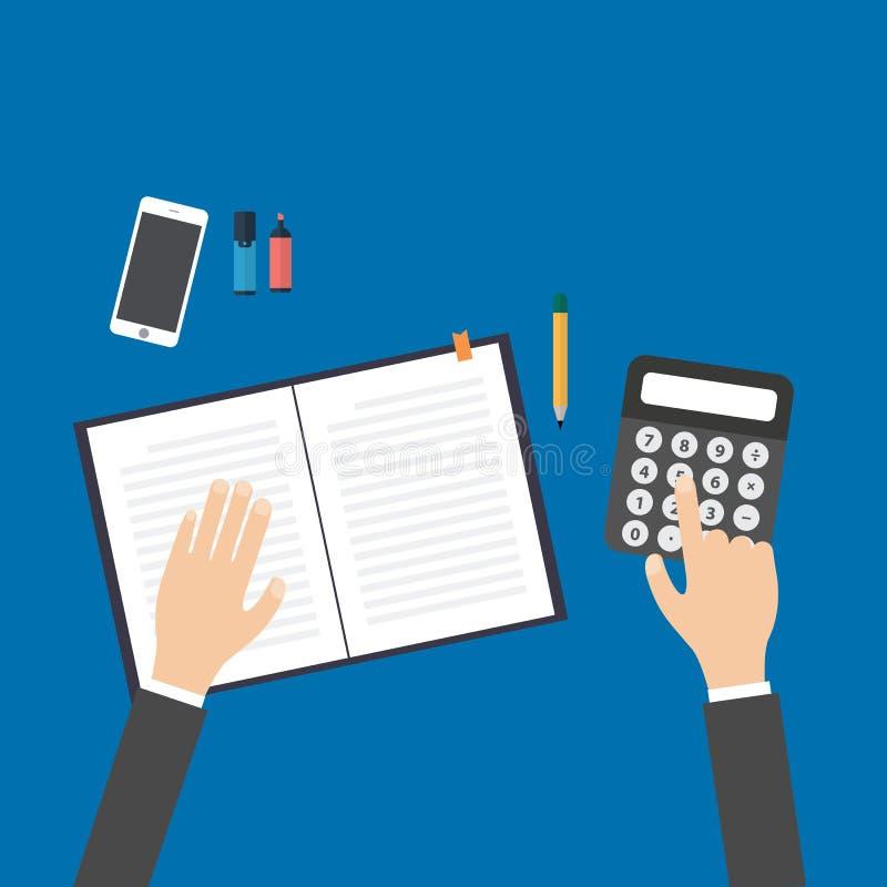 Negocio, educación, gente y concepto de la tecnología - manos con la calculadora, la pluma y el cuaderno libre illustration