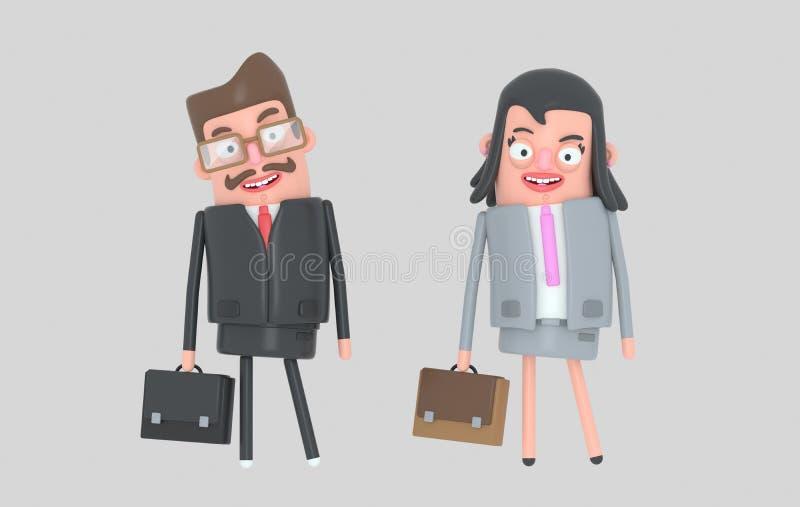 Negocio elegante de los pares Hombres de negocios illustratiion 3d stock de ilustración