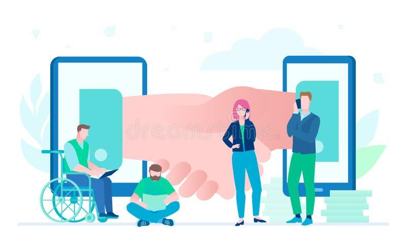 Negocio en línea - ejemplo colorido del estilo plano del diseño libre illustration