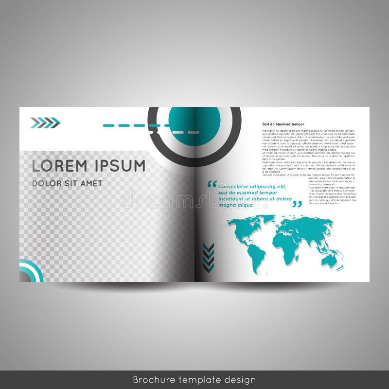 Negocio escandinavo del estilo o disposición, aviador o folleto educativo de diseño del folleto del cuadrado del doblez del BI de ilustración del vector