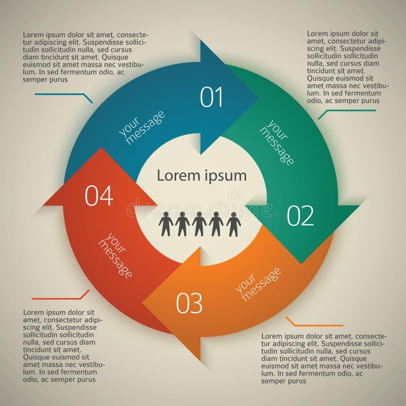 Negocio-estilo-plantilla-presentación-flecha-círculo stock de ilustración