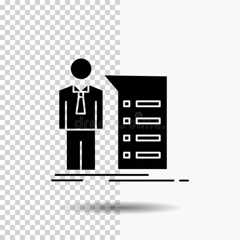Negocio, explicación, gráfico, reunión, icono del Glyph de la presentación en fondo transparente Icono negro stock de ilustración