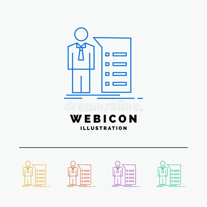 Negocio, explicación, gráfico, reunión, línea de color de la presentación 5 plantilla del icono de la web aislada en blanco Ilust ilustración del vector