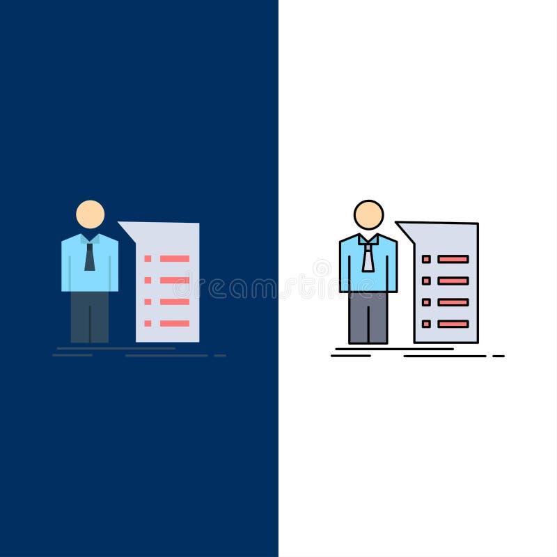 Negocio, explicación, gráfico, reunión, vector plano del icono del color de la presentación libre illustration