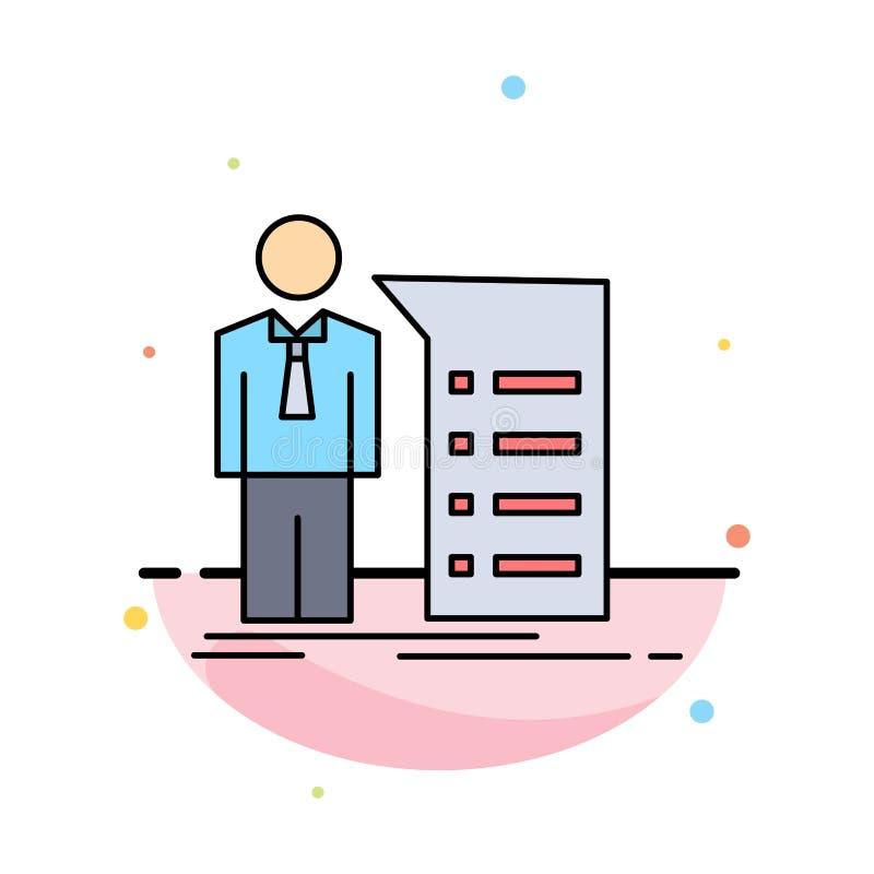 Negocio, explicación, gráfico, reunión, vector plano del icono del color de la presentación ilustración del vector