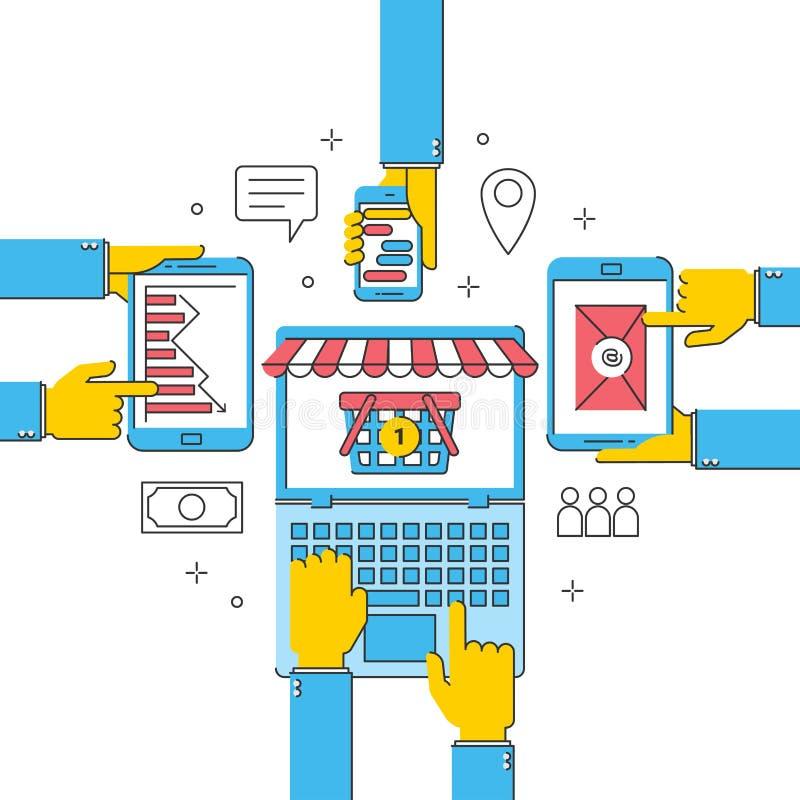 Negocio financiero, compras de la tienda en línea de la comunicación del servicio del trabajo en equipo de Internet stock de ilustración
