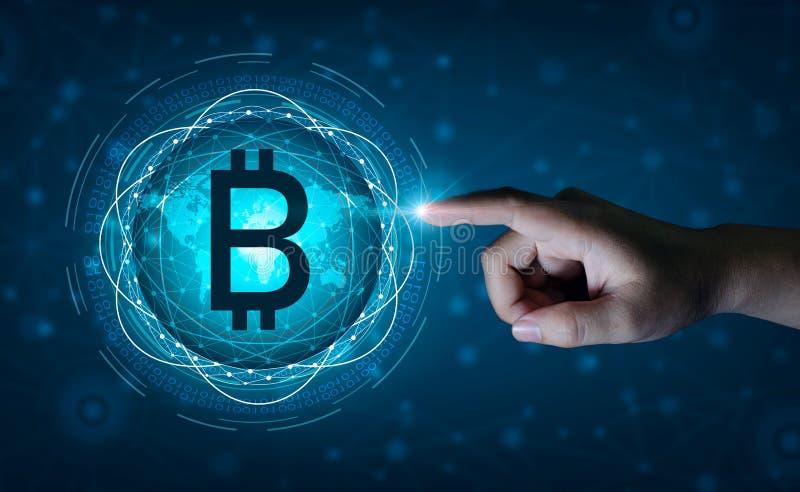 Negocio financiero de la moneda de Digitaces del sistema de seguridad del mapa del mundo de la cadena de bloque de Bitcoin en el  fotografía de archivo libre de regalías