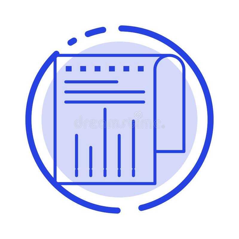 Negocio, financiero, moderno, línea de puntos azul línea icono del informe stock de ilustración