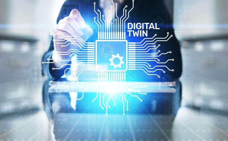 Negocio gemelo de Digitaces y modelado del proceso industrial innovación y optimización stock de ilustración
