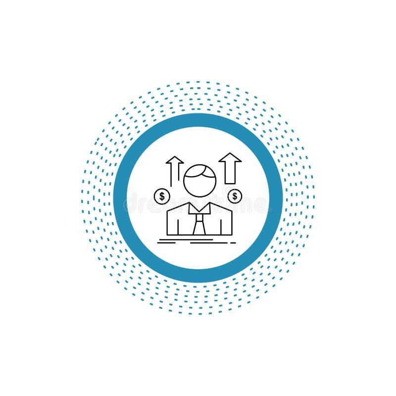 Negocio, hombre, avatar, empleado, línea icono del hombre de las ventas Ejemplo aislado vector libre illustration