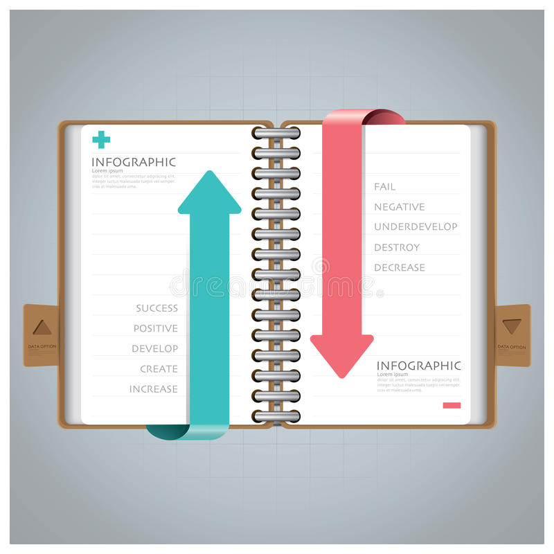 Negocio Infographic con Ring Notebook Arrow Bookmark Diagram libre illustration