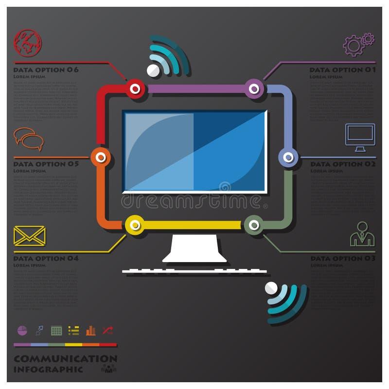 Negocio Infographic de la cronología de la conexión de la comunicación del ordenador stock de ilustración