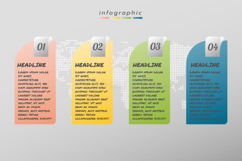 Negocio infographic de la plantilla del diseño de cuatro pasos, ejemplo stock de ilustración