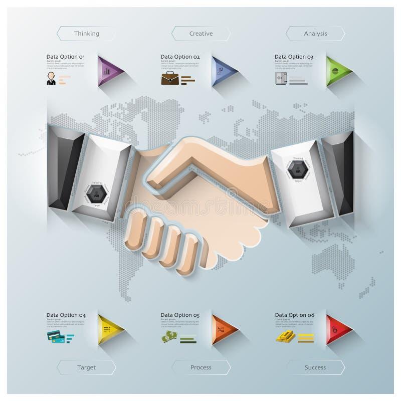 Negocio Infographic del polígono de la dimensión de la sacudida tres de la mano ilustración del vector
