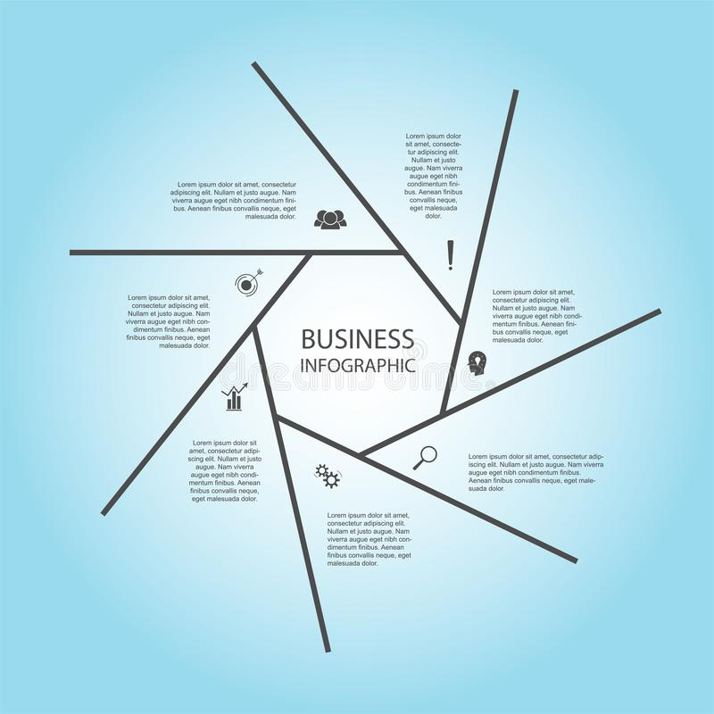 Negocio InfoGraphics, geometría, diseño del heptágono, presentación del márketing, bandera de la sección libre illustration