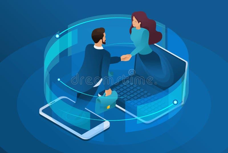 Negocio isométrico, colaboración en línea global entre las compañías grandes Concepto para el dise?o web ilustración del vector