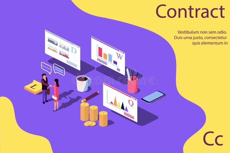 Negocio isométrico del éxito de la evaluación del rendimiento del concepto libre illustration