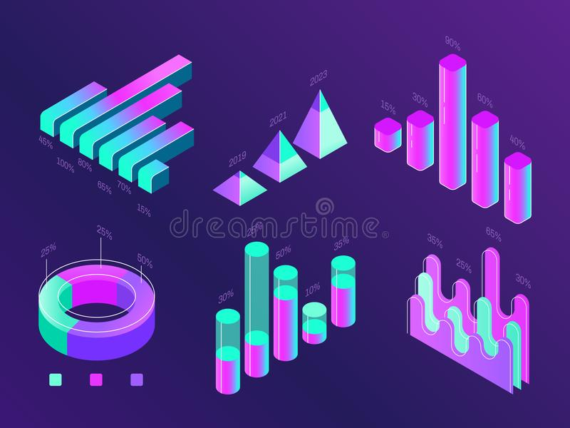Negocio isométrico moderno infographic Cartas del porcentaje, columnas de las estadísticas y diagramas Carta de la presentación d ilustración del vector