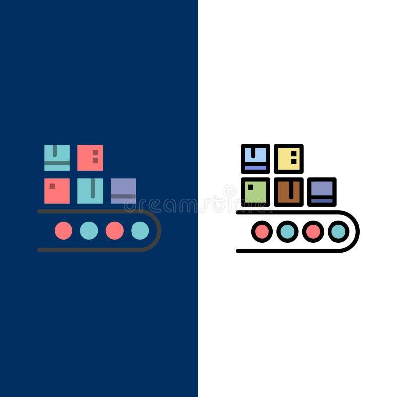 Negocio, línea, gestión, producto, iconos de la producción El plano y la línea icono llenado fijaron el fondo azul del vector libre illustration