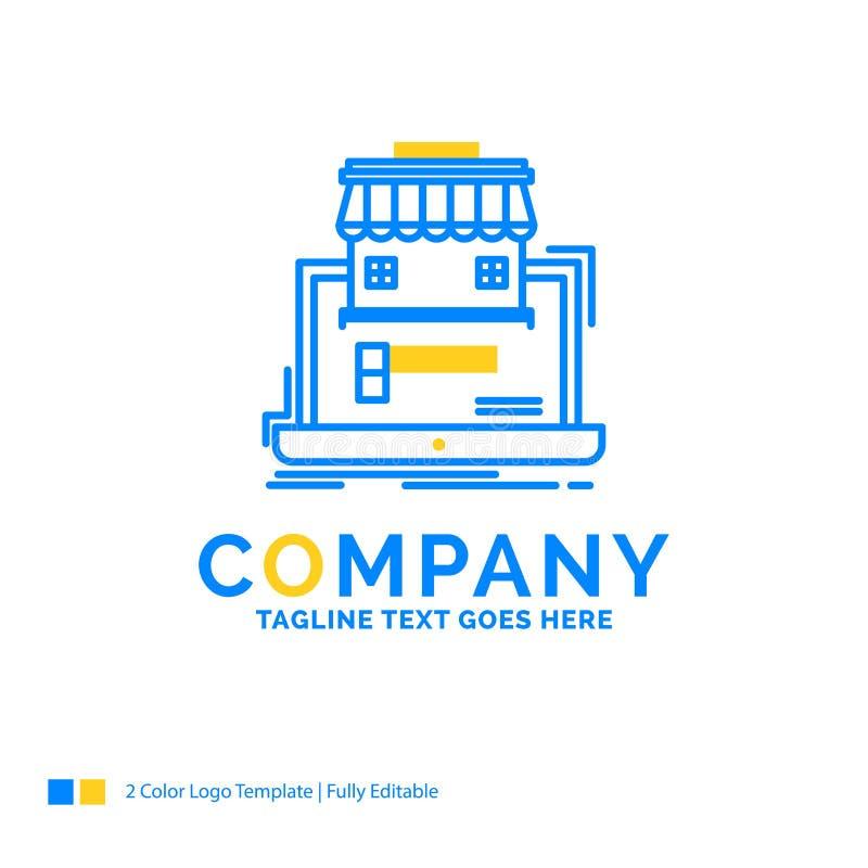 negocio, mercado, organización, datos, mercado en línea YE azul ilustración del vector