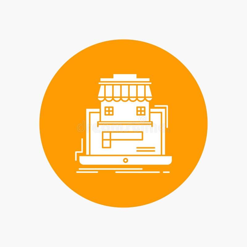 negocio, mercado, organización, datos, icono blanco del Glyph del mercado en línea en círculo Ejemplo del bot?n del vector stock de ilustración