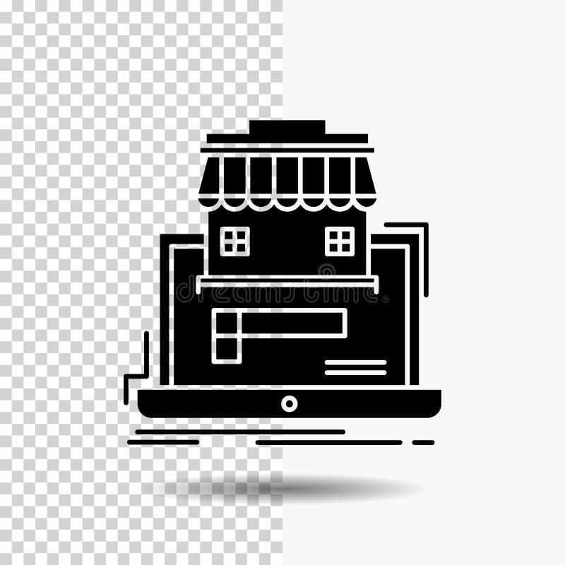 negocio, mercado, organización, datos, icono en línea del Glyph del mercado en fondo transparente Icono negro ilustración del vector