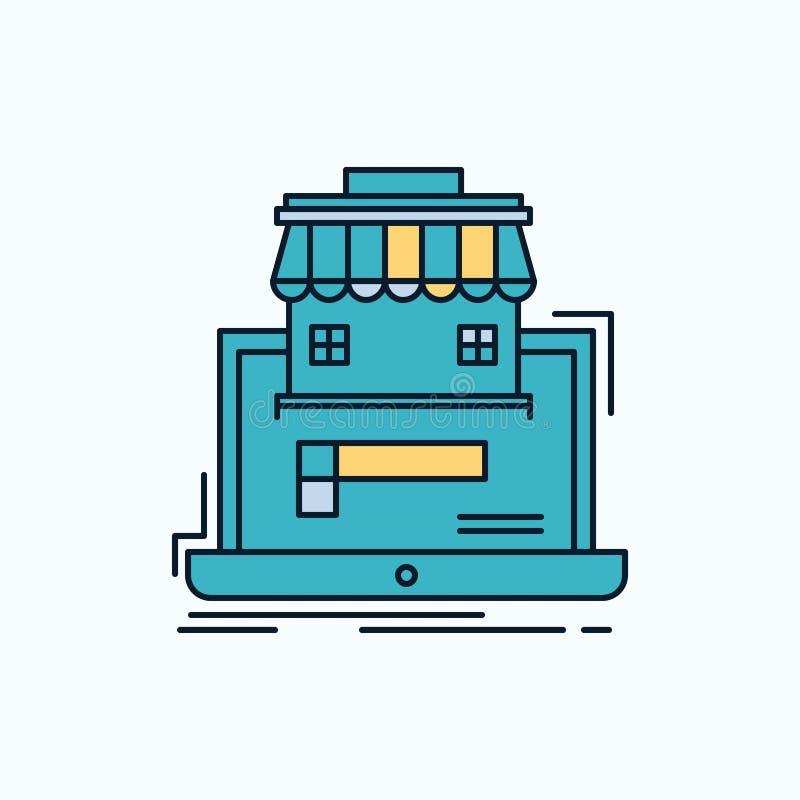 negocio, mercado, organización, datos, icono plano del mercado en línea muestra y s?mbolos verdes y amarillos para la p?gina web  stock de ilustración