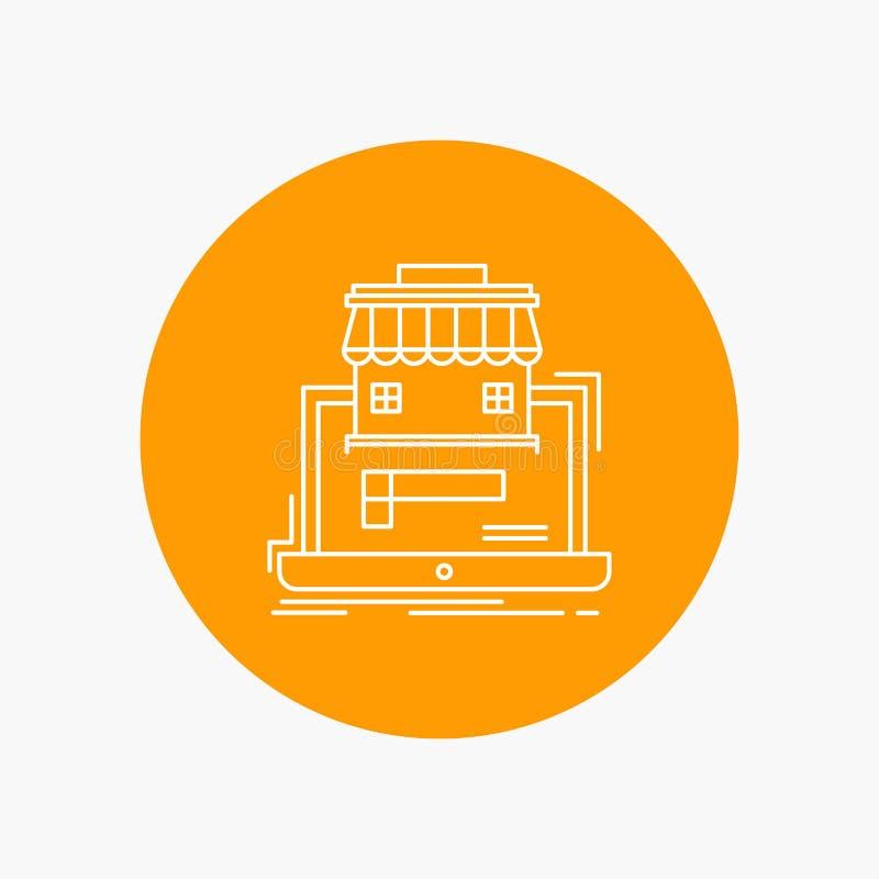 negocio, mercado, organización, datos, línea blanca icono del mercado en línea en fondo del círculo Ejemplo del icono del vector ilustración del vector