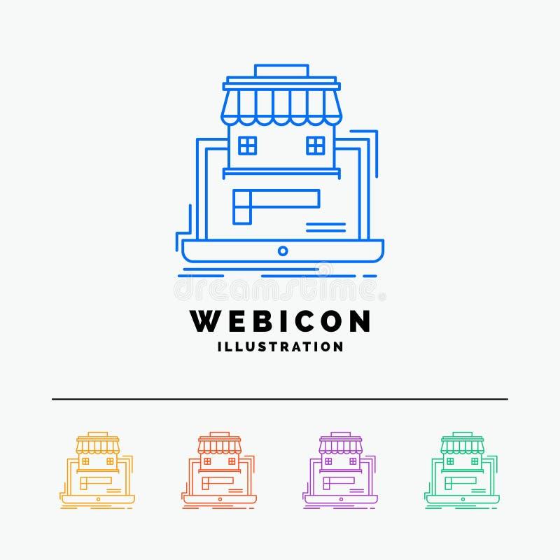 negocio, mercado, organización, datos, línea de color en línea del mercado 5 plantilla del icono de la web aislada en blanco Ilus libre illustration