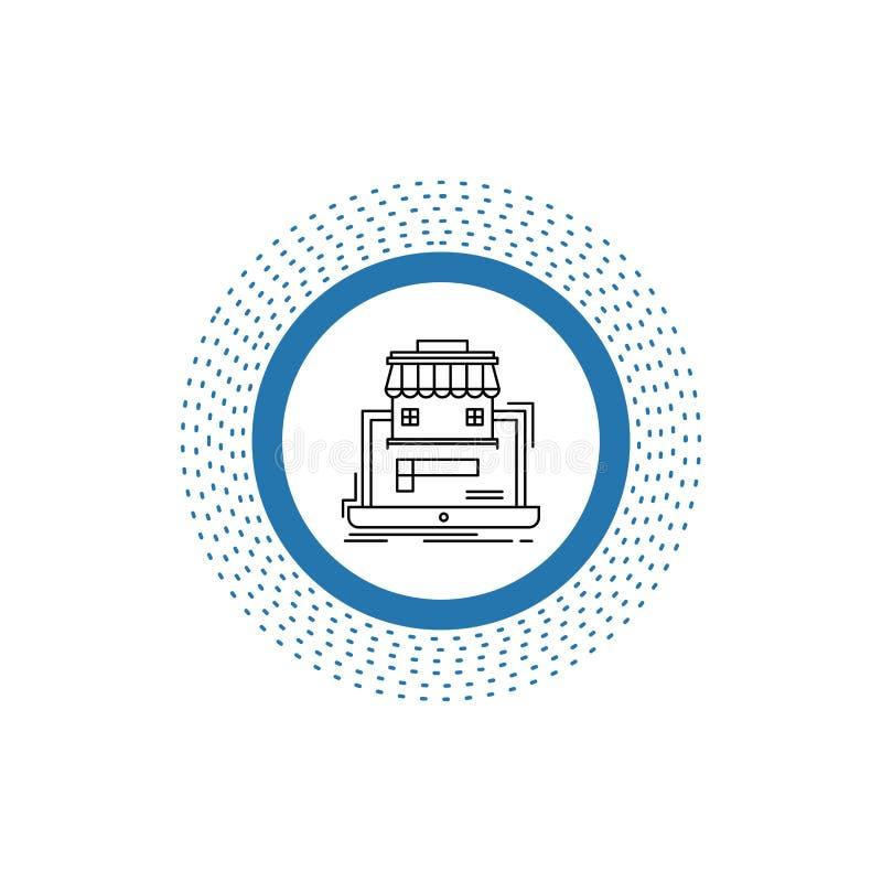 negocio, mercado, organización, datos, línea en línea icono del mercado Ejemplo aislado vector libre illustration