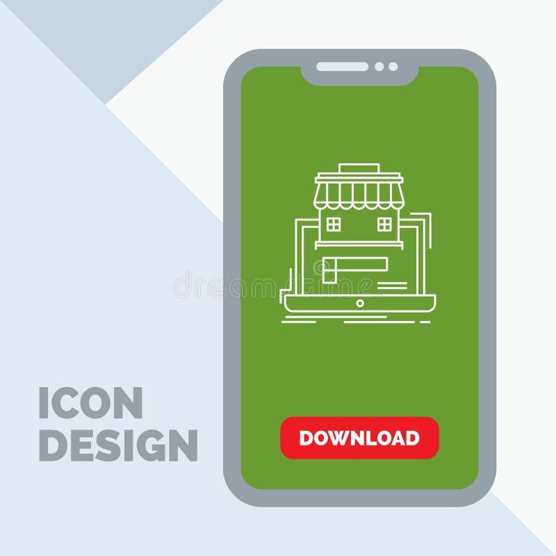 negocio, mercado, organización, datos, línea en línea icono del mercado en el móvil para la página de la transferencia directa stock de ilustración