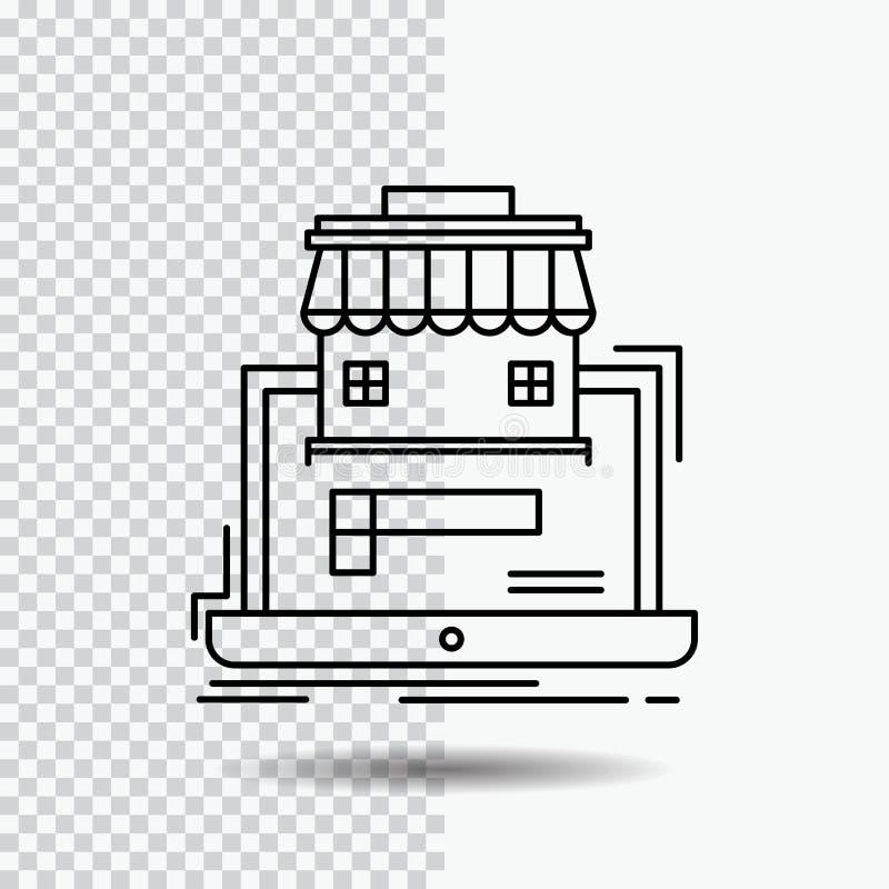 negocio, mercado, organización, datos, línea en línea icono del mercado en fondo transparente Ejemplo negro del vector del icono stock de ilustración