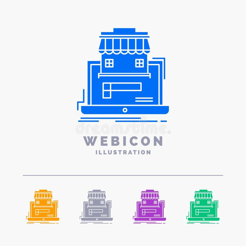 negocio, mercado, organización, datos, plantilla en línea del icono de la web del Glyph del color del mercado 5 aislada en blanco ilustración del vector