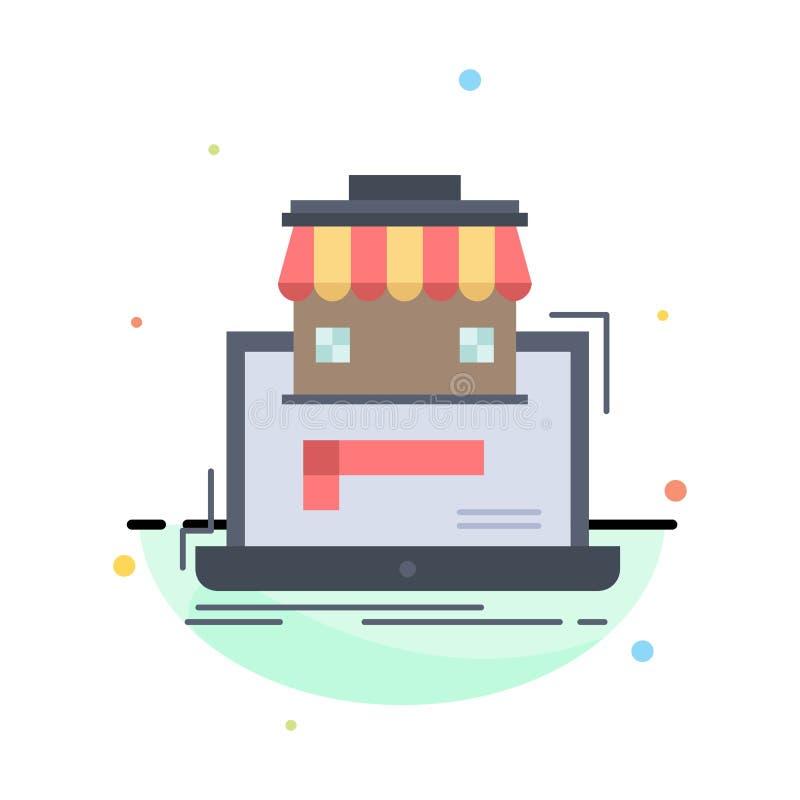 negocio, mercado, organización, datos, vector plano del icono del color del mercado en línea stock de ilustración