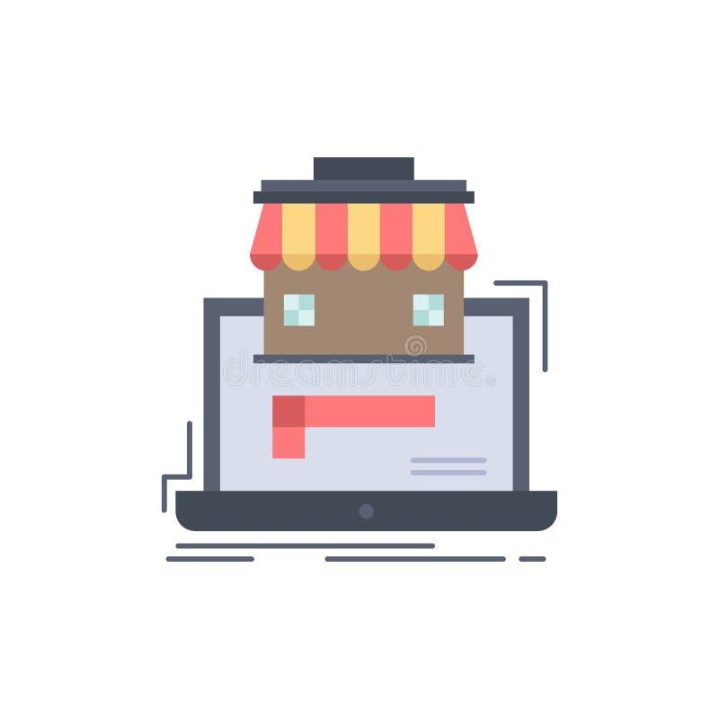 negocio, mercado, organización, datos, vector plano del icono del color del mercado en línea ilustración del vector