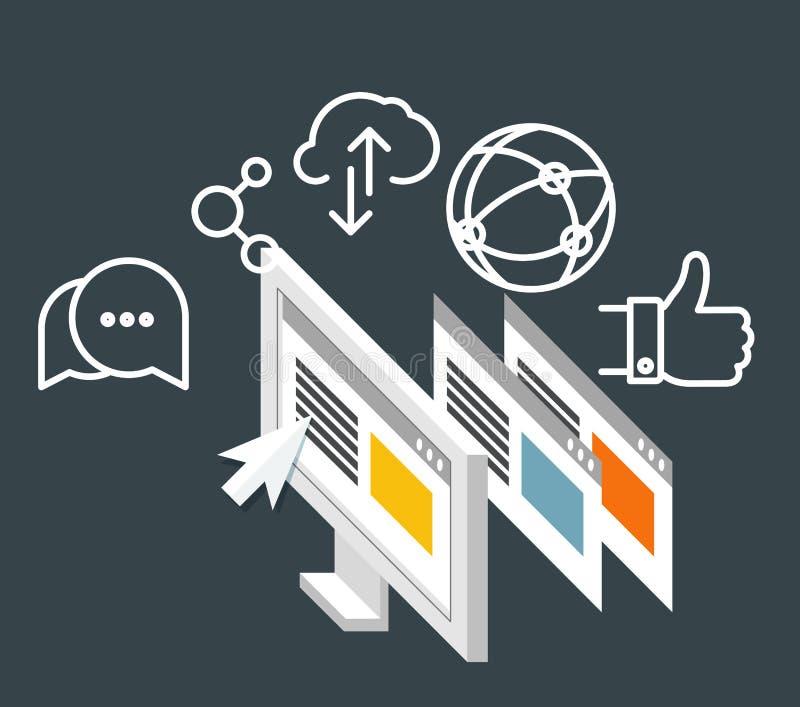 Negocio moderno de la tecnología Media sociales ilustración del vector