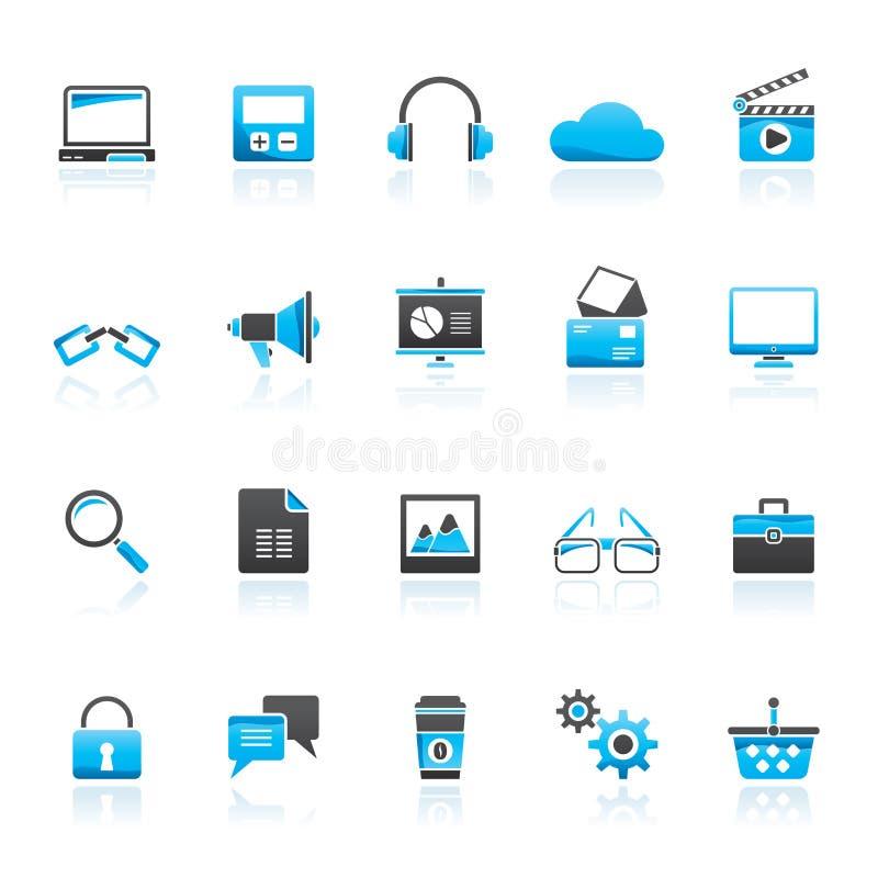 Negocio, oficina e iconos del márketing ilustración del vector