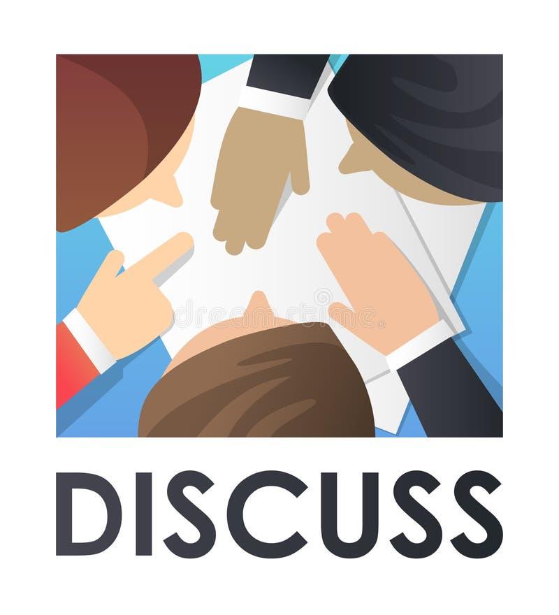 Negocio plano del ejemplo del vector discutir, negociaciones Concepto para la página web, bandera, presentación, medio social ilustración del vector