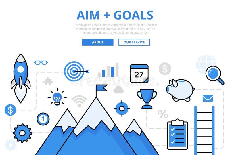 Negocio plano linear del infographics de las METAS de AIM stock de ilustración