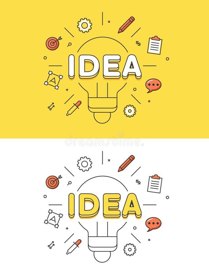 Negocio plano linear del vector de la imagen de la lámpara del IDEA stock de ilustración