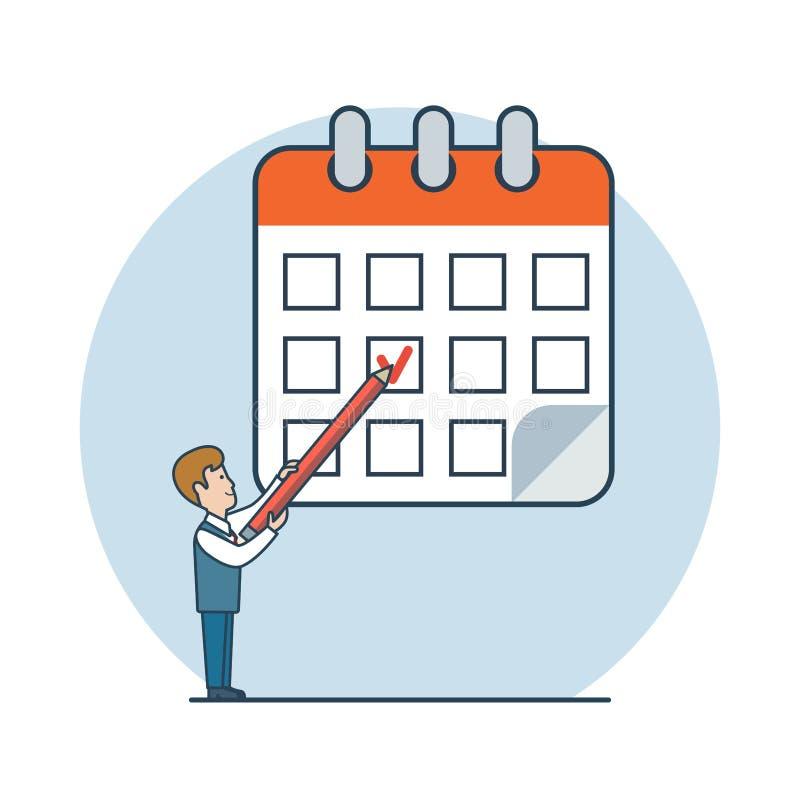 Negocio plano linear i del vector del horario del proceso del hombre stock de ilustración