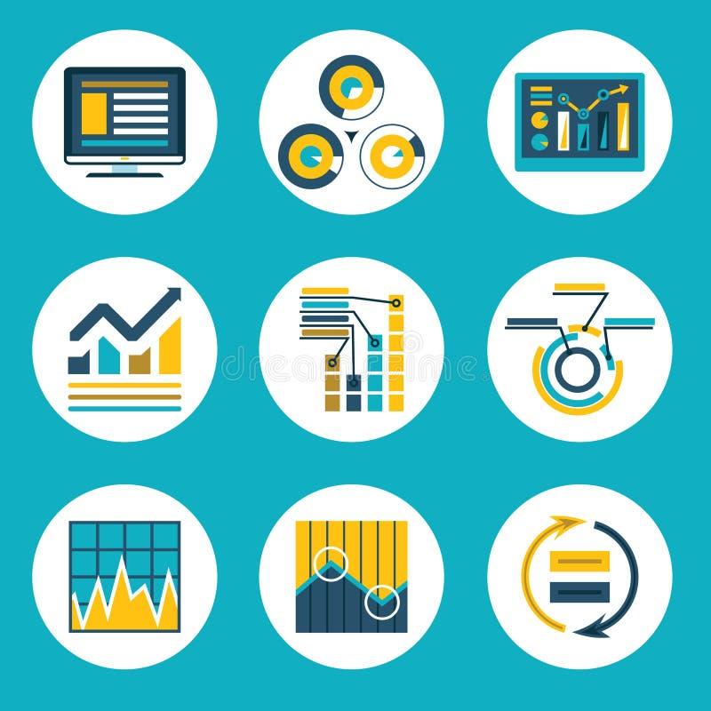 Negocio plano retro Infographics del estilo del diseño de los datos stock de ilustración