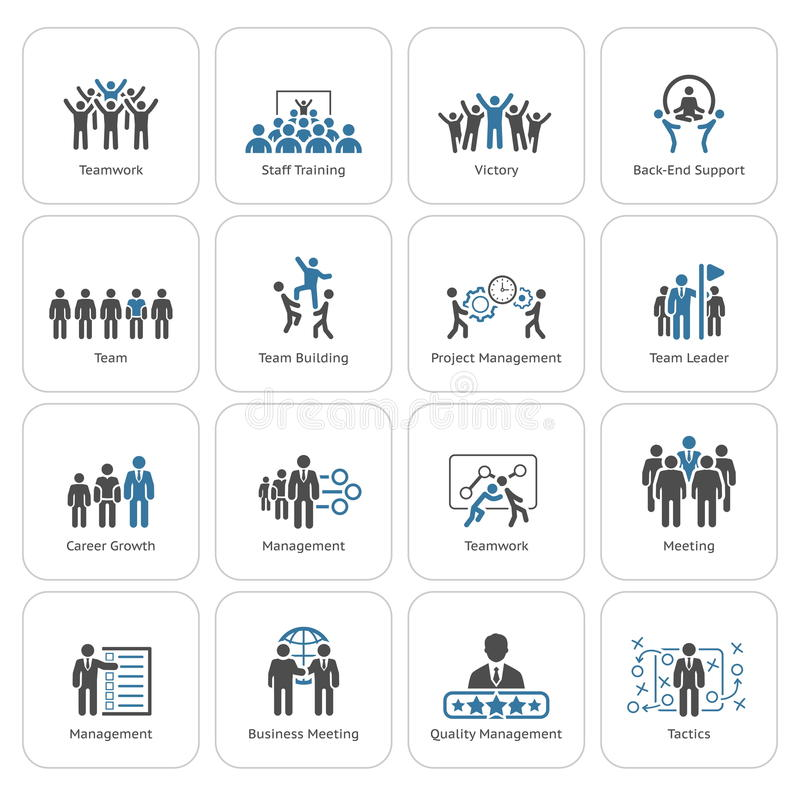 Negocio plano Team Icons Set del diseño ilustración del vector