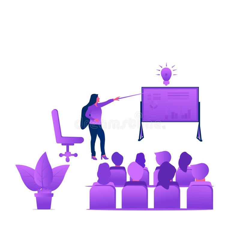 Negocio que entrena a concepto plano moderno Ejemplo del vector con la mujer y la presentaci?n seminario Conferencia stock de ilustración