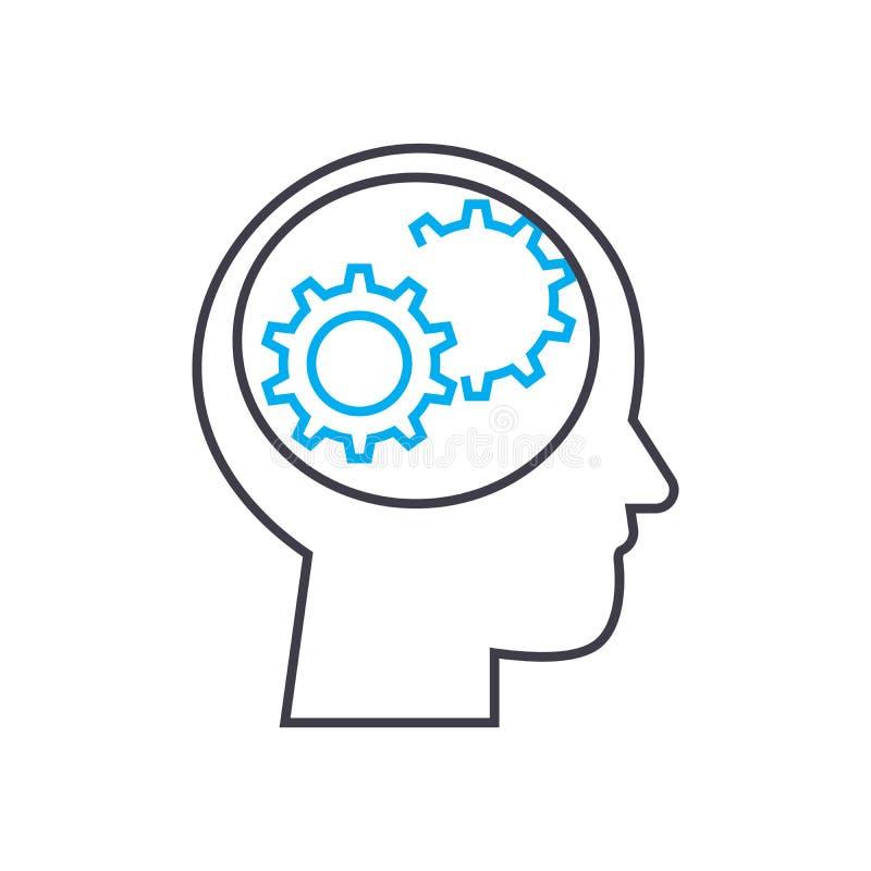Negocio que piensa concepto linear del icono Línea de pensamiento muestra del vector, símbolo, ejemplo del negocio ilustración del vector